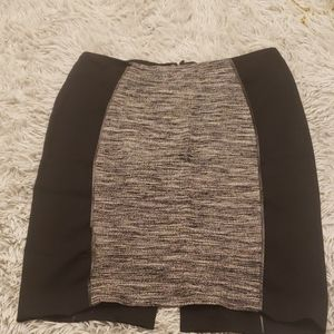 H&M  Faux Leather Trim Tweed Panel Pencil Skirt